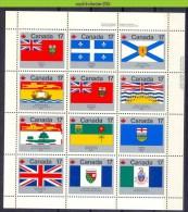Mra0685b VLAGGEN FLAGS ONTARIO QUEBEC NOVA SCOTIA NEWFOUNDLAND SHIP DOG BISON FLOWER CANADA 1979 PF/MNH - Stamps