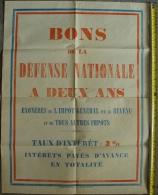 Ancienne Affiche Originale. Bon De La Défense Nationale à Deux Ans - Imprimerie Nationale - (Format 64 Cm Par 48 Cm Env) - Affiches