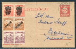 1920 Hungary Koztarsasag Overprints Uprated Stationery - Berlin Germany