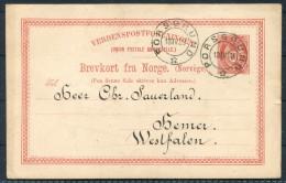 1889 Norway 10 Ore Brevkort Porsgrund - Westfalen Germany