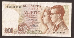 België 50 Frank 14-5- 1966 -NO: 1471 H 1845 - [ 6] Treasury
