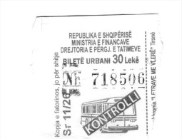 BUS Ticets From VALONA ALBANIA - Unclassified