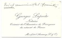 Carte Visite - Georges Laporte Notaire - Montfort L'Amaury - Cartoncini Da Visita