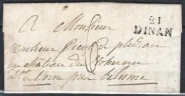 France, Cotes Du Nord - 21/Dinan De 1822 - Marcophilie (Lettres)