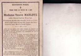 EVREHAILLES DINANT Henriette BURLET Veuve MARLOYE 1812-1893 Souvenir Mortuaire Pieux - Décès
