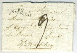 Marque Linéaire Aigueperse / LàC 1817 Château De Marcilly (St-Pourçain) à Légion De La Creuse à Lorient. - Marcophilie (Lettres)
