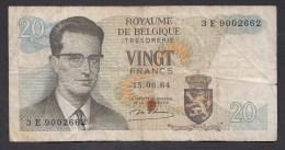 België Belgique Belgium 15 06 1964 20 Francs Atomium Baudouin. 3 E 9002662 - [ 6] Staatskas