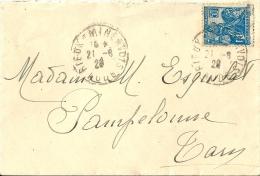 Enveloppe    Postée   Dans  Le  Minervois    (  11  )     Direction  Le  TARN - Marcophilie (Lettres)