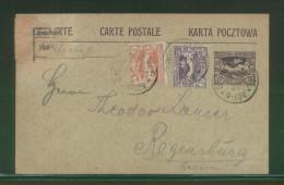 POLAND 1920 HAUTE SILESIA PLEBISCITE 15PF POSTCARD + 10,15PF STAMPS GROSS WEISCHEL (NOW WISLA WIELKA) TO REGENSBURG - Covers & Documents