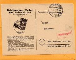Gelsenkriche 1947 Gebuhr Bezahlt Card Mailed - Gemeinschaftsausgaben