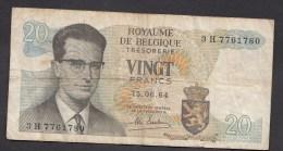 België Belgique Belgium 15 06 1964 20 Francs Atomium Baudouin. 3 H 7761780 - [ 6] Treasury