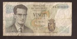 België Belgique Belgium 15 06 1964 20 Francs Atomium Baudouin. 3 L 4026803 - [ 6] Tesoreria