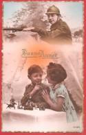 CARTOLINA NV FRANCIA - BONNE ANNEE - Guerra - Soldati - Bambini - 9 X 14 - New Year
