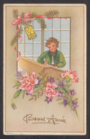 N1082/ Enfant écrivant, Oeillets, Lanterne, 1947, 2 Scans - Nouvel An