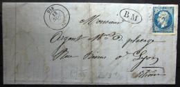 GC 1297 + Cachet Type 15 + B.M  --  DIE  --  DROME  --  LAC  --  1867 - Storia Postale