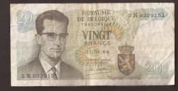 België Belgique Belgium 15 06 1964 20 Francs Atomium Baudouin. 3 N  9339151 - [ 6] Treasury