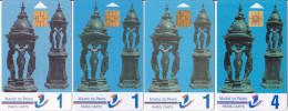 4 Cartes Stationnement Paris Cartes Série Fontaines Wallace_recto, Verso Et/ou Puces Différents - Francia