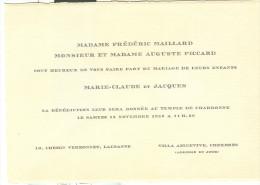 MARIAGE, LAUSANNE -CHEXBRES, TEMPLE DE CHARDONNE, 1953, - Annunci Di Nozze