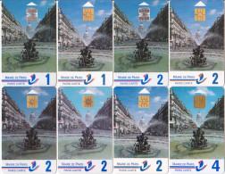 8 Cartes Stationnement Paris Cartes Série Fontaine Edmond Rostand_recto, Verso Et/ou Puces Différents - France