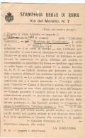 STAMPERIA REALE DI ROMA, RICHIESTA PAGAMENTO PUBBLICAZIONI, VIAGGIATO IN BUSTA, - Non Classificati