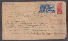 South Africa: Air Mail 22 X 1942 STANDERTON To Prisoner Of War In Italy, Front Only - South Africa (...-1961)
