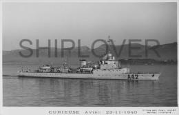 Aviso CURIEUSE (Marine Nationale) - Carte Photo éd. Marius Bar - Photo/bateau/schiff - Guerra