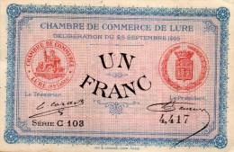 71 - LURE - BILLET CHAMBRE DE COMMERCE DE LURE- UN FRANC - Camera Di Commercio