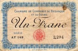25 - BESANCON   - BILLET CHAMBRE DE COMMERCE DE BESANCON 1920 - UN FRANC - Chambre De Commerce