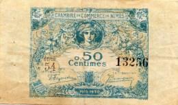 30 - NIMES   - BILLET CHAMBRE DE COMMERCE DE NIMES -1915-1920- 50 CENTIMES - Chambre De Commerce