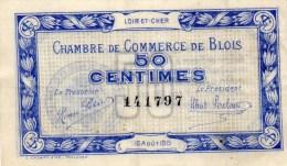 41 - BLOIS   - BILLET CHAMBRE DE COMMERCE DE BLOIS - 16 AOUT 1915- 50 CENTIMES - Chambre De Commerce