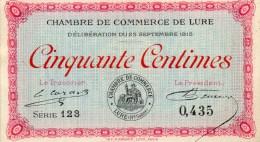 71- LURE   - BILLET CHAMBRE DE COMMERCE LURE - 50 CENTIMES - 28 SEPTEMBRE 1915 - Camera Di Commercio