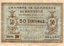 64- BAYONNE   - BILLET CHAMBRE DE COMMERCE BAYONNE - 19 MAI 1917- 50 CENTIMES - Chambre De Commerce