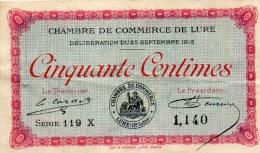 71- LURE    - BILLET CHAMBRE DE COMMERCE LURE - 25 SEPTEMBRE 1915- 50 CENTIMES - Chambre De Commerce