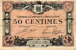 16- ANGOULEME  - BILLET CHAMBRE DE COMMERCE DE ANGOULEME 15 JANVIER 1915- 50 CENTIMES - Chambre De Commerce