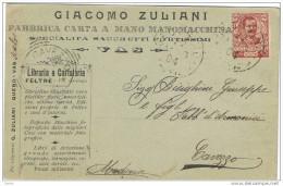 REGNO:  1904  VITTORIO  EMAN. III° 10 C. CARMINIO  (71)  IN  TARIFFA,  SU  CARTOLINA  PUBBLICITARIA  DA  VAS (BL) -  FP - Publicidad