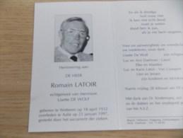 Doodsprentje Romain Latoir Wetteren 18/4/1932 Aalst 23/1/1997 ( Lisette De Wolf ) - Religion &  Esoterik