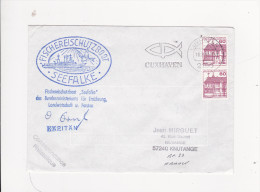 Enveloppe Timbre Tampon Flamme FISCHEREISCHUTZBOOT SEEFALKE Protection Peche Faucon De Mer CUXHAVEN Signee Kapitain - Germany