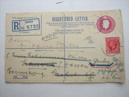 1935, Registered Letter From Dover  ,  Letter To Germany, 2 Scans - 1902-1951 (Koningen)