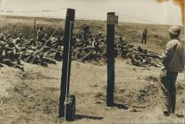 46Ach    Photo Originale Guerre 39/45 Prisonniers Soldats Allemands Entourés De Barbelés (voir Cachet Verso) - Foto's
