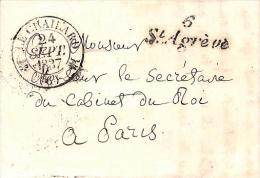 ARDECHE - LAC En PD Du 24 Septembre 1837 Avec CURSIVE 6 St Agrève + T12 LE CHAILLARD - Poststempel (Briefe)