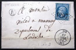 GC 1297 + Cachet Type 15 + Boite Rurale  --  DIE  --  DROME  --  LAC  --  1864 - Storia Postale