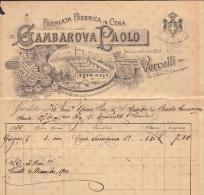 """FATTURA """"PREMIATA FABBRICA IN CERA GAMBAROVA PAOLO - VERCELLI"""" - 31-12-1900 - Italia"""