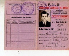 Licence F.N.B. Fédération Nationale De Boules Mont Blanc Et Haute Savoie 1934 - Sports & Tourisme