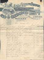 "FATTURA RIPARAZIONE CAMPANILE CHIESA CASALVOLONE (NOVARA) - ""FIGLI DI GIUSEPPE AIROLDI - MECCANICI IDRAULICI"" 25-07-1913 - Italia"