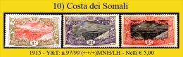 Costa-dei-Somali-010 - 1915 - Y&T: N.97/99 (++/+) MNH/LH - Netti € 5,00 - Costa Francesa De Somalia (1894-1967)