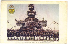 """Officers And Crew Of The U.S.S. """"Pennsylvania"""" Colour Postcard - Postcards"""