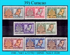 Curacao-039  -  1946 Y&T: N.52/59(++)MNH - Netti € 10,00 - Curacao, Netherlands Antilles, Aruba