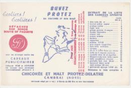 """Buvard Ancien """"Protez-Delatre"""" Chicorée Et Malt - Buvards, Protège-cahiers Illustrés"""