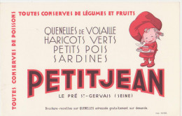 "Buvard Ancien ""Conserves Petitjean"" - Buvards, Protège-cahiers Illustrés"