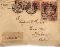 G)1916 PERU, FRANQUEO VALE 2 CTS. 1916 VIOLET OVERPRINTED ON 50 CTS & VALE 10 CENTAVOS 1916 GREEN OVERPRINTED ON BOLOGNE - Peru